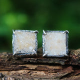Square yellow Druzy quartz earrings in silver bezel and prongs setting with sterling silver stud style
