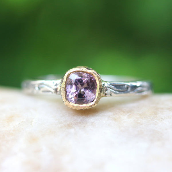 Square cut pink spinel ring in 18k gold bezel setting with sterling silver in leaf design engraving band
