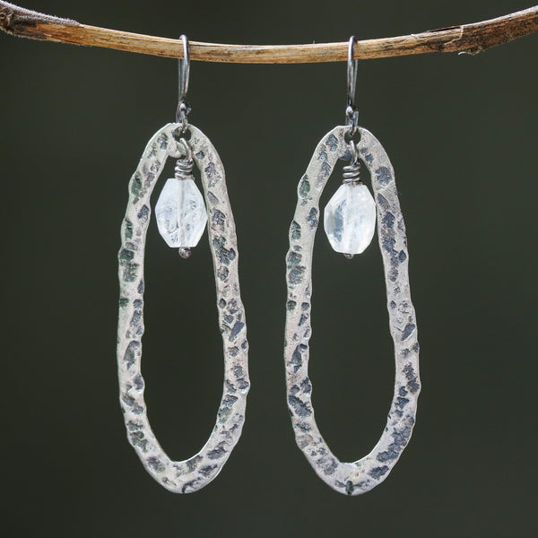 Silver oxidized hammer textured peanut shape hoop earrings with moonstone beads on sterling silver hooks - Metal Studio Jewelry