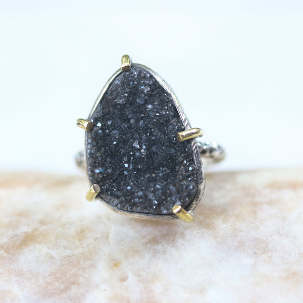 Black Brazilian druzy ring in silver bezel and brass prongs setting with sterling silver oxidized hard texture band