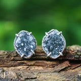 Marquise black natural Druzy quartz earrings in silver bezel and prongs setting with sterling silver stud style - Metal Studio Jewelry
