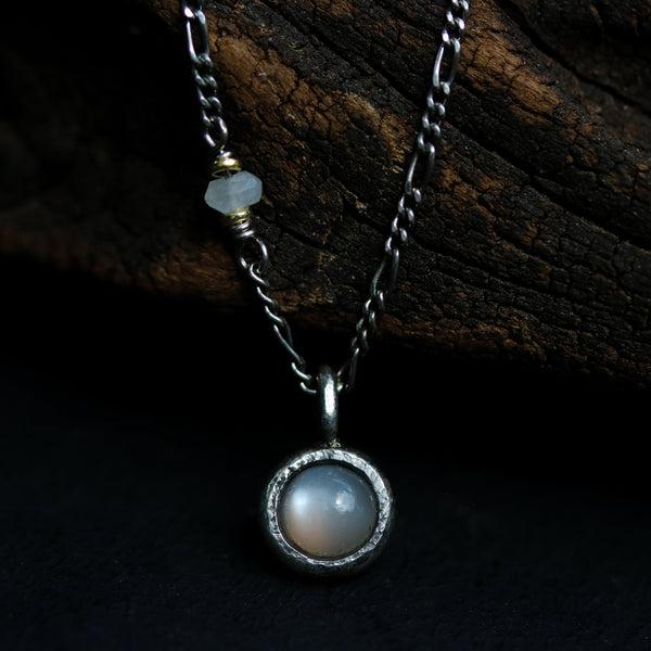 Tiny round gray moonstone pendant necklace with oxidized sterling silver chain - Metal Studio Jewelry
