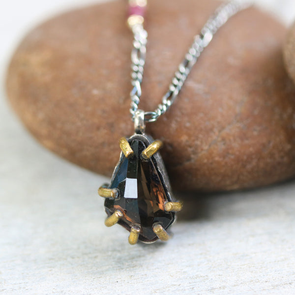 Smoky quartz gemstone faceted pendant necklace and pink multi sapphire on the side - Metal Studio Jewelry