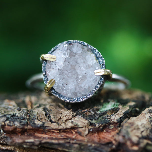 Yellow round druzy quartz ring in silver bezel and brass prongs setting with sterling silver matte finish band