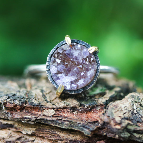 Brown round druzy quartz ring in silver bezel and brass prongs setting with sterling silver matte finish band