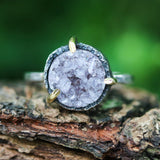 Brown round druzy quartz ring in silver bezel and brass prongs setting with sterling silver hammer texture band - Metal Studio Jewelry