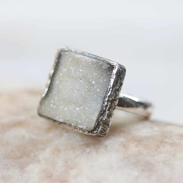 Square cut light gray raw druzy ring in silver bezel setting with sterling silver high polish finished band - Metal Studio Jewelry