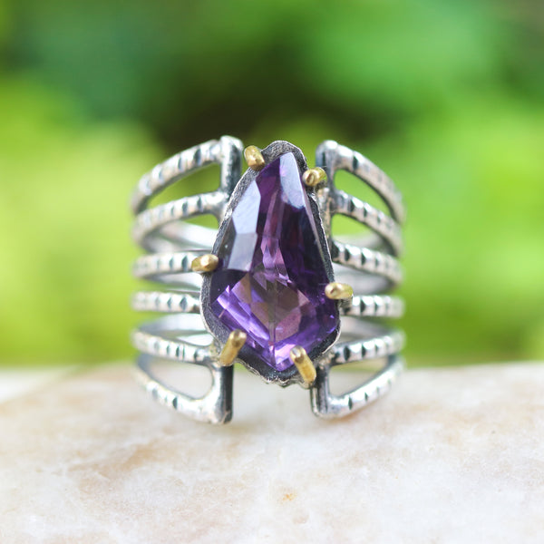 Amethyst ring in silver bezel and brass prongs setting with sterling silver skeleton multi wrap band