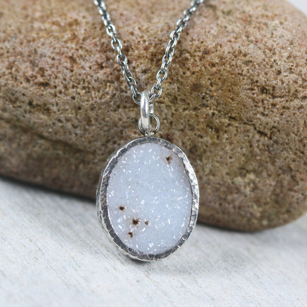 Sterling silver necklace with oval grey Druzy quartz pendant in bezel setting