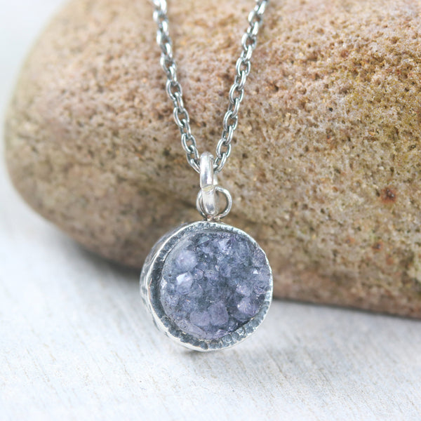 Sterling silver necklace with round black Druzy quartz pendant in bezel setting - Metal Studio Jewelry