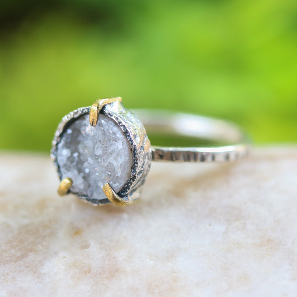 Tiny Light gray round druzy quartz ring in silver bezel and brass prongs setting with sterling silver round band matte finished - Metal Studio Jewelry