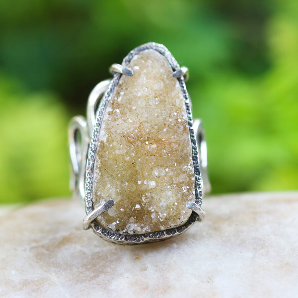 Yellow Brazilian druzy ring in silver bezel and prongs setting with sterling silver wave design band - Metal Studio Jewelry