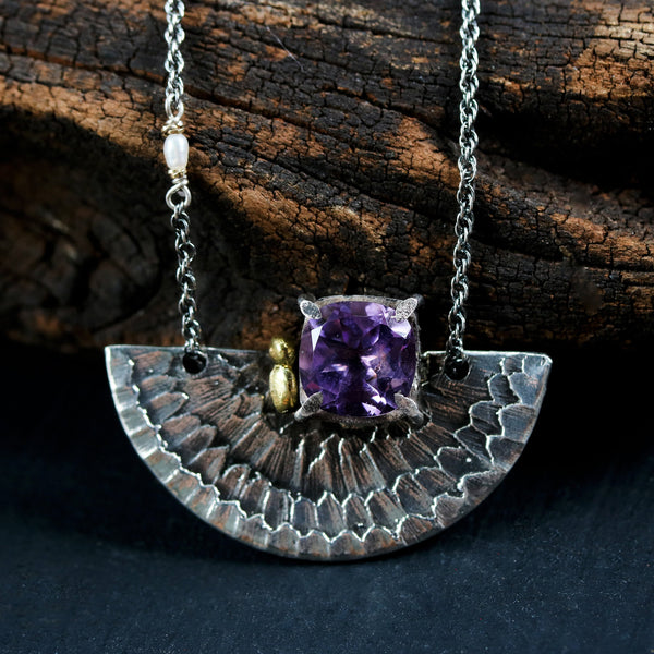 Faceted princess cut amethyst gemstone pendant necklace in silver bezel and prongs setting with silver fan - Metal Studio Jewelry