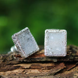 Grey rectangle Druzy quartz earrings in silver bezel setting with sterling silver stud style - Metal Studio Jewelry