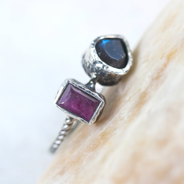 Rectangle pink sapphire and labradorite ring in silver bezel setting