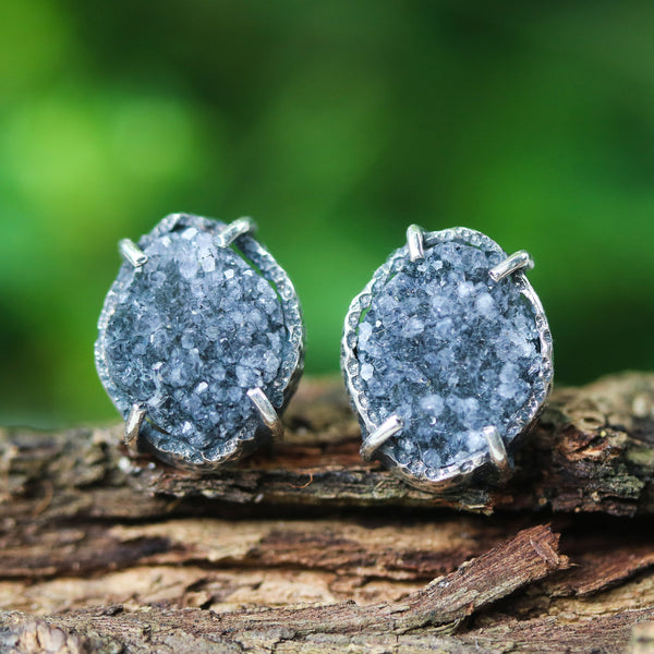Marquise dark grey Druzy quartz earrings in silver bezel and prongs setting with sterling silver stud style