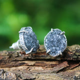 Marquise dark grey Druzy quartz earrings in silver bezel and prongs setting with sterling silver stud style - Metal Studio Jewelry
