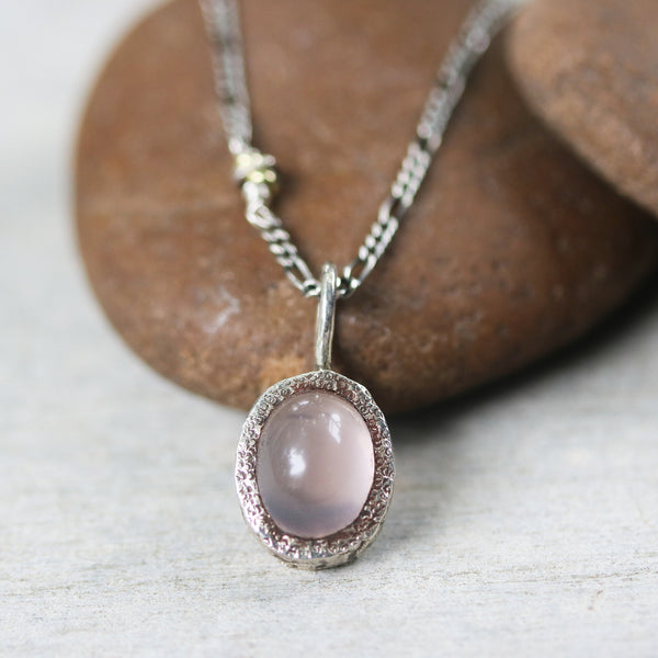 Oval cabochon Rose quartz gemstone pendant necklace in silver bezel setting with silver beads secondary - Metal Studio Jewelry