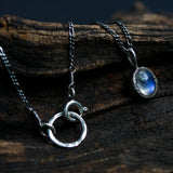 Tiny moonstone pendant necklace in silver bezel setting with aquamarine beads secondary on silver chain - Metal Studio Jewelry