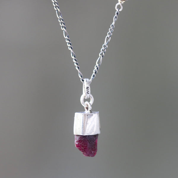 Deep red Rough ruby pendant necklace in silver bezel setting with silver beads secondary