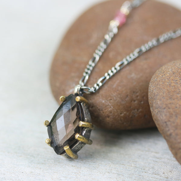 Smoky quartz faceted pendant necklace and pink multi sapphire on the side with oxidized sterling silver chain