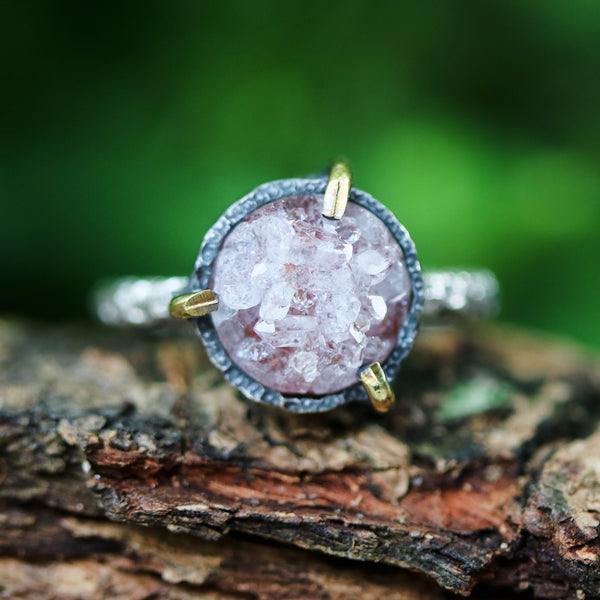 Red/brown round druzy quartz ring in silver bezel and brass prongs setting with sterling silver hard texture band
