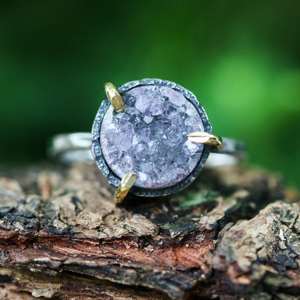 Violet/black round druzy quartz ring in silver bezel and brass prongs setting with sterling silver hammer texture band - Metal Studio Jewelry