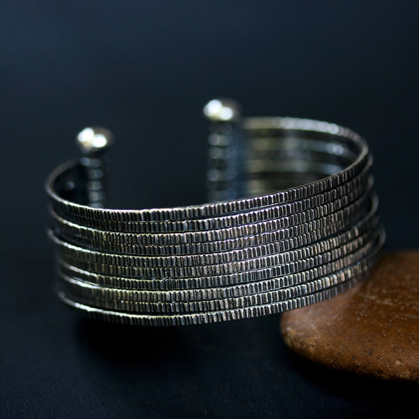 Engraving oxidized sterling silver stack cuff bracelet - Metal Studio Jewelry