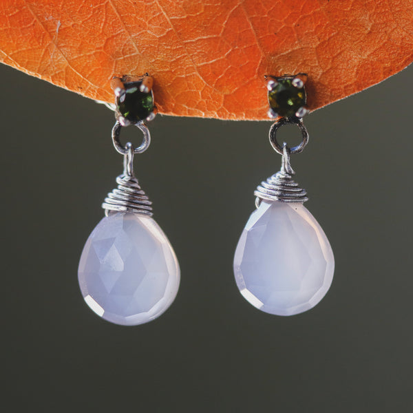 Dyed gray chalcedony teardrop faceted earrings with tiny green tourmaline on the top and sterling silver stud style - Metal Studio Jewelry