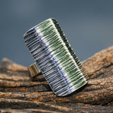 Adjustable ring wrap sterling silver in rectangle shape with oxidized lines design - Metal Studio Jewelry