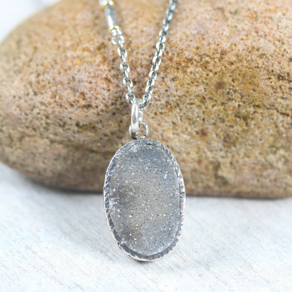 Grey natural Druzy pendant necklace with sterling silver chain