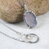 Sterling silver necklace with oval grey Druzy quartz pendant in silver bezel and prongs seeting - Metal Studio Jewelry