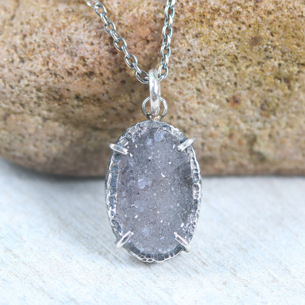 Dark grey natural Druzy pendant necklace with sterling silver chain