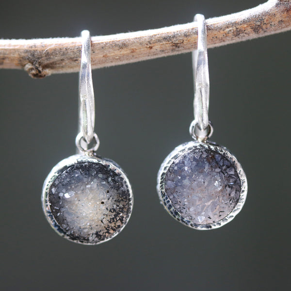 Round dark grey druzy quartz earrings in silver bezel setting with sterling silver hooks style