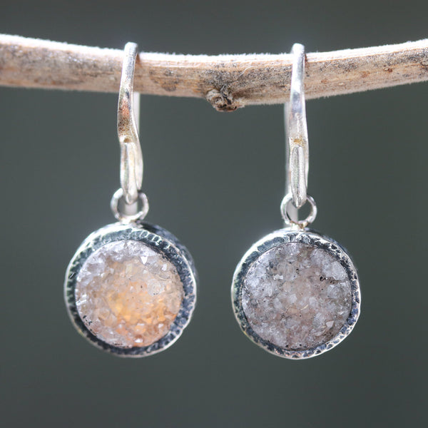 Round yellow druzy quartz earrings in silver bezel setting with sterling silver hooks style - Metal Studio Jewelry
