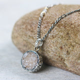 Light brown druzy pendant necklace in round shape in silver bezel setting with sterling silver chain - Metal Studio Jewelry