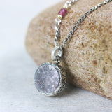 Dark grey Druzy pendant in bezel setting with pink sapphire beads on oxidized sterling silver necklace - Metal Studio Jewelry