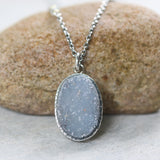 Oval grey Druzy pendant necklace in silver bezel setting with aquamarine beads secondary on sterling silver chain - Metal Studio Jewelry