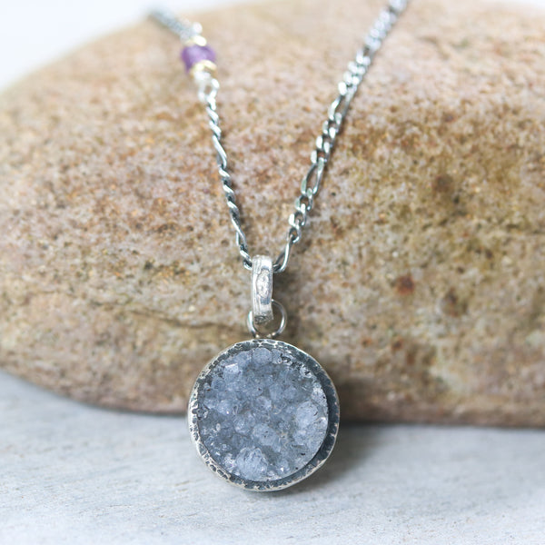 Grey druzy pendant necklace in silver bezel setting with amethyst beads on sterling silver chain - Metal Studio Jewelry