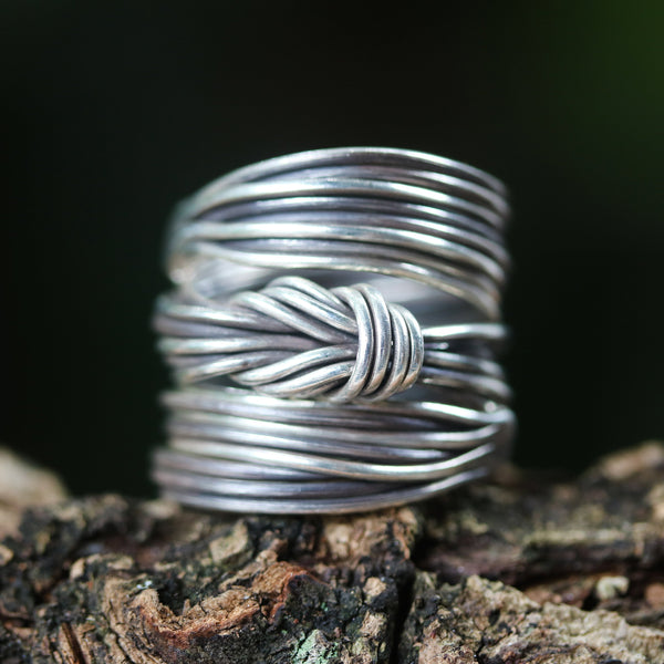 Adjustable silver ring, love knot ring, silver knot ring, sterling silver wire ring, silver wrap ring - Metal Studio Jewelry