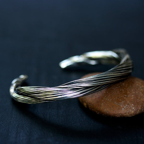 Cuff bracelet sterling silver twist design - Metal Studio Jewelry