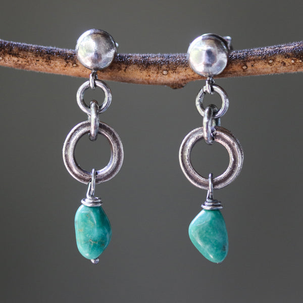 Blue turquoise earrings in freeform shape with silver ring loops and sterling silver stud style - Metal Studio Jewelry