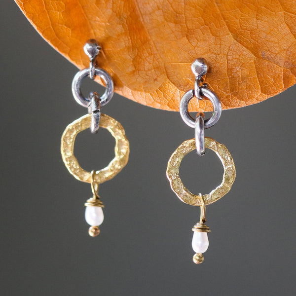 Gold plated silver hoop earrings with pearl accents and sterling silver stud style