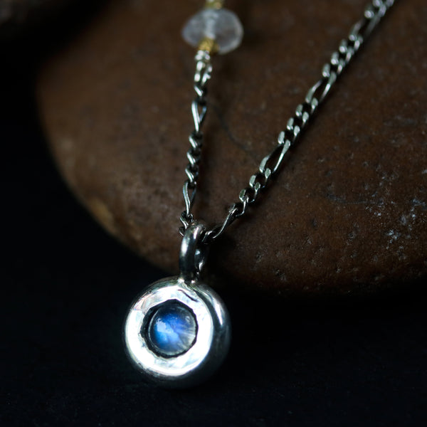 Tiny round cabochon Moonstone pendant necklace with moonstone beads secondary