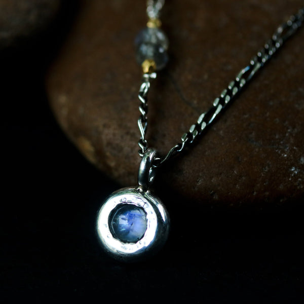 Tiny round cabochon Moonstone pendant necklace with labradorite beads on the side