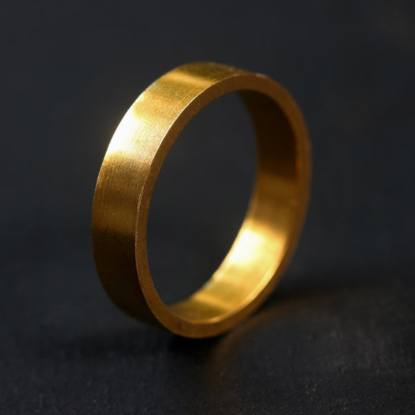 Simple wedding band,5.0 mm rectangle 22k gold ring - Metal Studio Jewelry