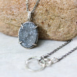 Sterling silver necklace with oval grey Druzy quartz pendant - Metal Studio Jewelry