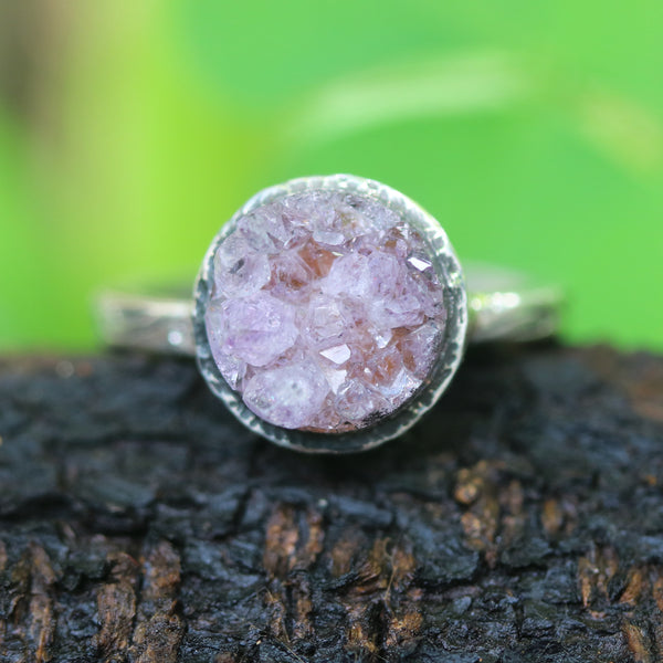 Brown round druzy quartz ring in silver bezel setting with sterling silver leaf design engraving band
