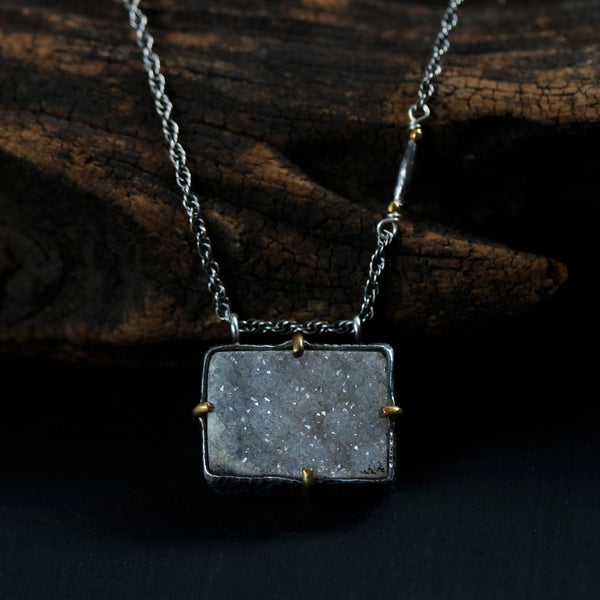Square cut raw druzy pendant necklace in silver setting with brass accent prongs and silver necklace