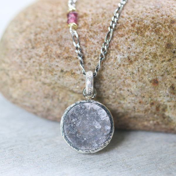 Dark grey Druzy pendant in bezel setting with pink sapphire beads on oxidized sterling silver necklace
